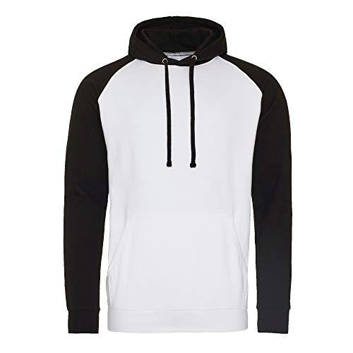 Awdis Just Hoods Unisex Kapuzen-Sweatshirt, zweifarbig (M) (Arctic Weiß/Schwarz) Arctic Pullover