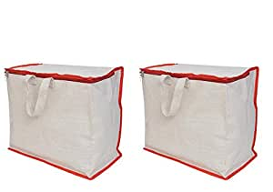 sanjis enterprises Shopping Grocery Vegetable Bag with Reinforced Handles, Thick Base, Storage Covers Zip (White)-Combo of 2