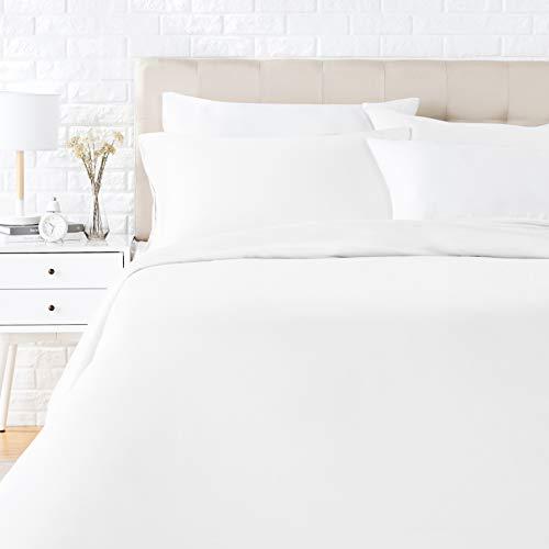 AmazonBasics - Juego de ropa de cama con funda de edredón, de satén, 155 x 200 cm / 50 x 80 cm x 2, Blanco