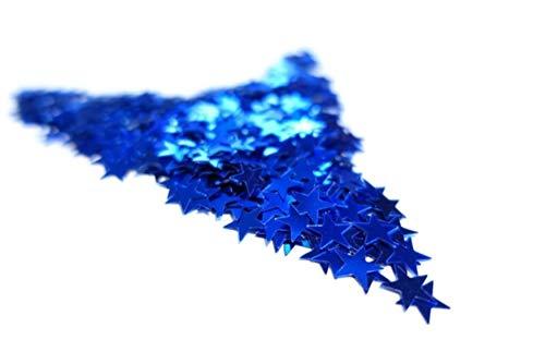 versandhop Konfetti Sterne 45g Gold Silber Rot Blau Glitzer Metallic PVC 1cm flammhemmend (Blau)