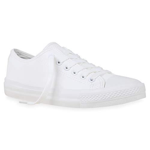 Stiefelparadies Damen Sneaker Low Basic Turnschuhe Schnürer Bequeme Schuhe Stoff Freizeitschuhe Schnürschuhe 172732 Weiss Kunstleder 40 Flandell