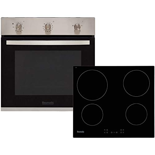 Baumatic BCPK605X Built In Electric Single Oven and Ceramic Hob Pack - Stainless Steel / Black