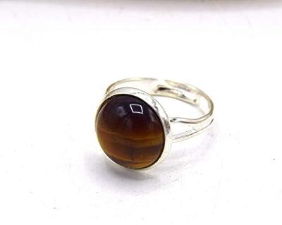 Bague en pierre oeil de tigre argenté, BAGUE REGLABLE pierre de gemme - en laiton