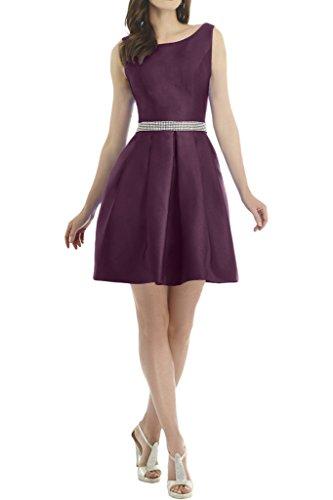 Ivydressing Damen Einfach Steine Guertel Satin Kurz Partykleid Promkleid Ballkleid Festkleid Abendkleid Traube