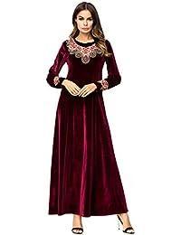 Bmeigo Kaftan Musulman Maxi Robe - Femmes Abaya Jilbab Dubai Velvet Manches  Longues Baggy Grande Taille Robes… afb1e417d95