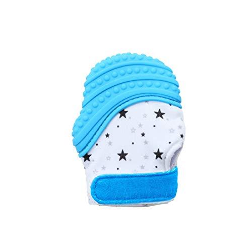 VIVOSUN Baby 1er Zahnen Handschuhe Schmerzlinderung Fäustling BPA Frei Silikon Zähne Beißring Zahnungshilfe für Neugeborenen Sterne Blau
