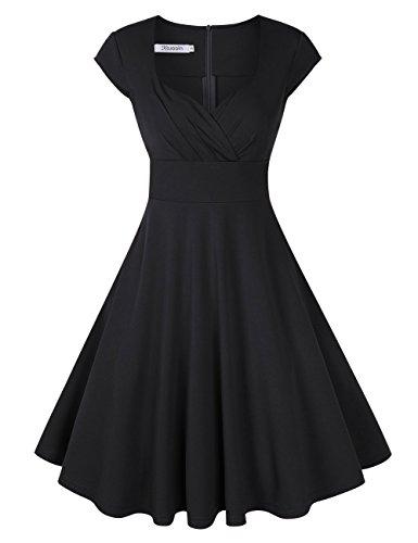 KOJOOIN Damen Vintage Kleid Cocktailkleid Abendkleid Ballkleid Rockabilly Taillenbetontes Kleid Knielang Schwarz V-Ausschnitt XL (Kleid Ausschnitt Schwarz)