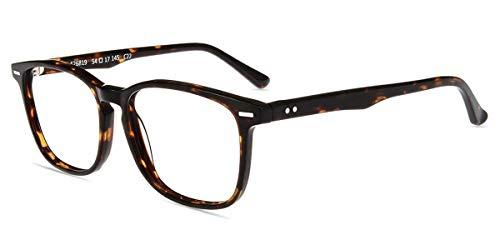 Firmoo Anti Blaulicht Computer Brille ohne Sehstärke Blaulichtfilter Brille für Damen/Herren Rechteckige Schicke Brille Blaulichtblockierend/Blendfrei/Kratzfest Nerd Gaming Brille (Leopard)