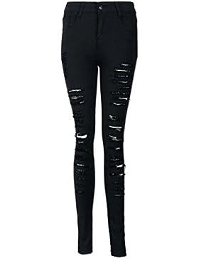 Reasoncool Donne matita di stirata casuale denim jeans scarni dei pantaloni a vita alta