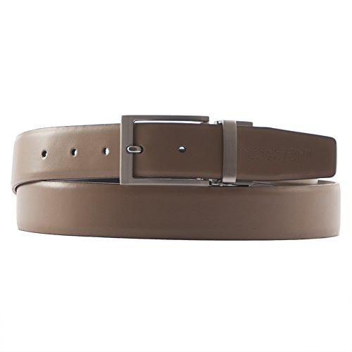 Cintura classica Giove, in vera pelle double face colore marrone - beige, dimensioni in cm: 130 L x 3,5 h