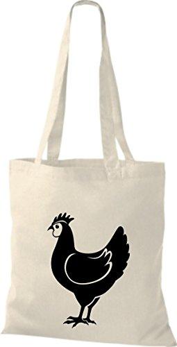 Shirtstown Stoffbeutel Tiere Hahn, Chicken Natur