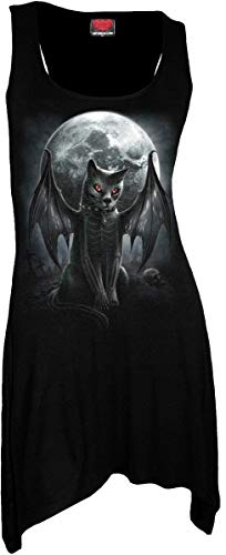 Spiral Direct Damen Vamp Cat - Goth Bottom Camisole Dress Black Kleid, Schwarz 001, 42 (Herstellergröße: Large) - Leichter Goth
