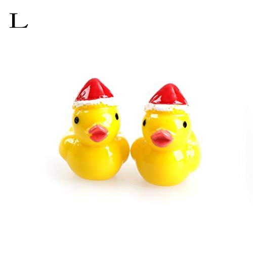 - 2pcs Lot Cute Cartoon Yellow Christmas Hat Duck Diy Resin Fairy Garden Craft Decoration Miniature - People Wooden Mandarin Wood Poms Panda Beanie Bunny Home Ornament Duck ()