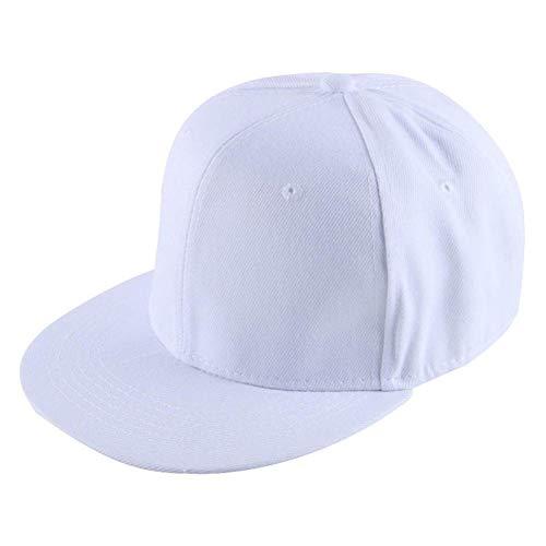 Llgbqm Baseballmütze Männer Frauen Hip Hop Cap Sport Hut Einfarbig Acryl Outdoor Weiblich Männlich Casual Snap Zurück Persönlichkeitshut (Color : White) (Kinder-snap Zurück Hut)