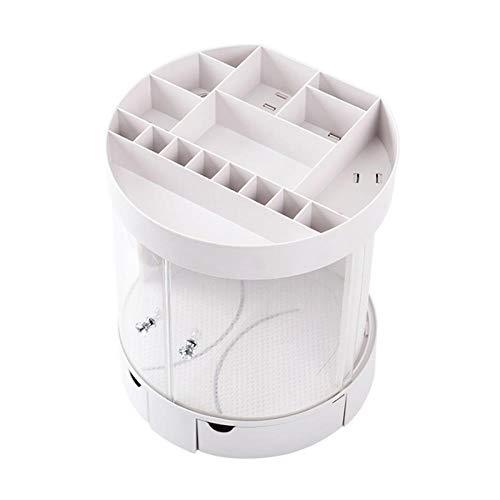 XIAOZHOU Kosmetische Aufbewahrungsbox Schiebetür Kosmetische Aufbewahrungsbox Kunststoff Desktop Lippenstift Rack Bad Staub Schmuck Finishing Box Kosmetische Aufbewahrung Elfenbein -