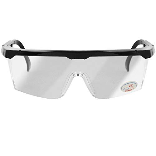 Oramics Arbeits-Schutzbrille Laborbrille UV-Schutz Über-Brille bruchfest mit verstellbarem Bügel, transparente Schutzbrille (1 Stück)