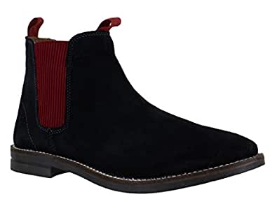 Catesby Mens Pull On Elastic Dealer Chelsea Real Suede Ankle