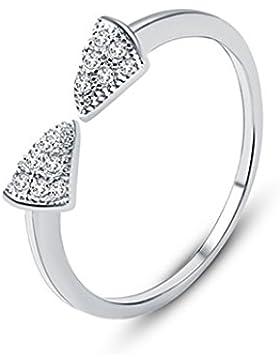 Fashmond Schleife Ring für Damen Mutter Tochter aus 925 Silber und Kristall Zirkonia
