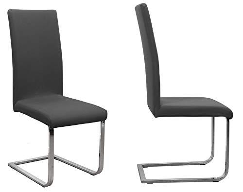 2er Set Jersey Stuhlhusse (Farbe wählbar), elastische Uni Stretch-Husse aus Baumwolle Bi-Elastisch (Dunkelgrau)