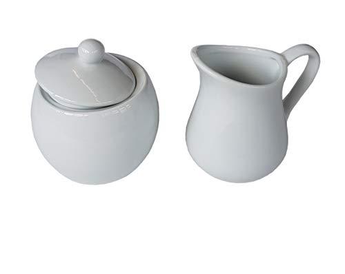 Provance 3-teilig Porzellan Milch und Zucker Set mit Deckel, Milchkännchen Zuckerdose Milch- & Zuckerbehälter Küchenhelfer