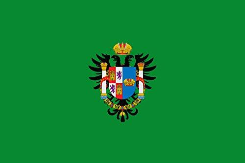 magFlags Flagge: Large Provincia de Toledo | Diputación de Toledo Bandera color verde o sinople con el escudo anterior en la Bandera | Querformat Fahne | 1.35qm | 90x150cm » Fahne 100%