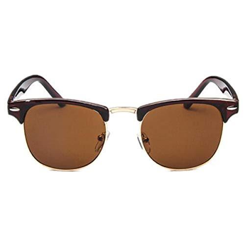 GJYANJING Sonnenbrille Halb Metall Sonnenbrille MännerFrauen Brillen Spiegel Sonnenbrille Mode Sonnenbrillen Leopard Fahren Sonnenbrille