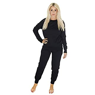 Love My Fashions® Women Tracksuit (Medium/Large Size - Navy Blue) Round Neck Sportswear with Plain Diamante Style - Ladies Casual Long Sleeve Top to Bottom Outwear for Jogging/Gym/Exercise