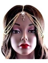Nouveau bijou de tête, chaînes couleur or, avec pierres de Strass carrées IHC1005G