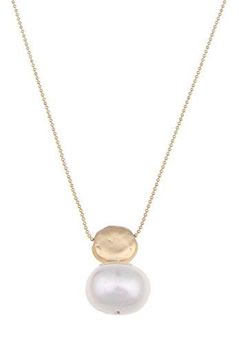 Leslii Hals-Kette White Pearl Gold   lange Damen-Kette Mode-Schmuck   86cm + Verlängerung (White Pearl Halskette)