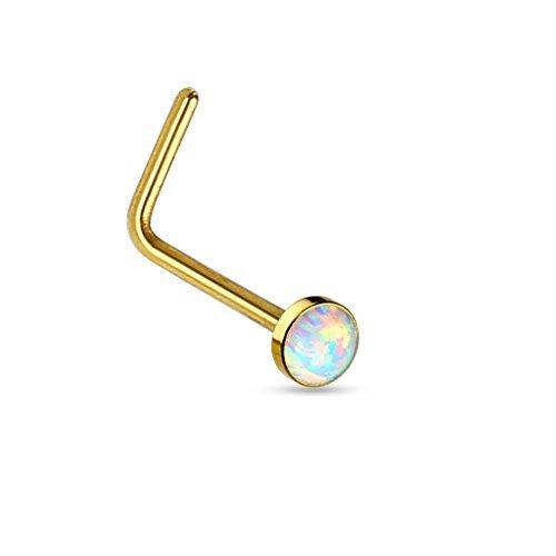 Tapsi´s Coolbodyart®| Nasen Piercing Stecker Gebogen Edelstahl Chirurgenstahl 316L Opal Gold