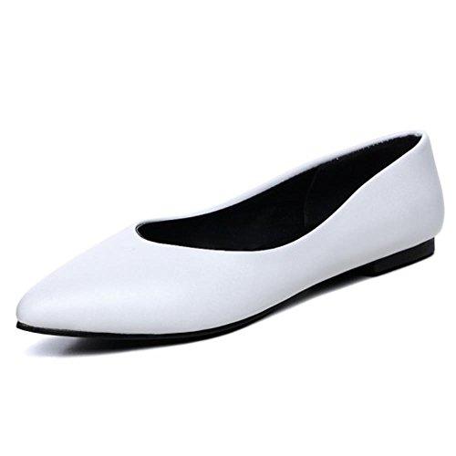 Taoffen Elegantes Senhoras Planas, Sem Fechamento Apontado Bombas Branco Toe Trabalho