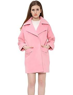 WanYang Abrigo De Mujer Rosa De Moda Otoño E Invierno Abrigos De Solapa De Manga Larga De Color Sólido
