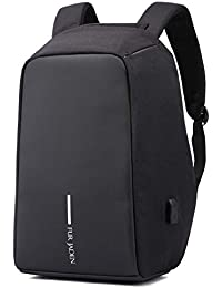 Fur Jaden Black Anti Theft Waterproof Casual Backpack with USB Charging Point