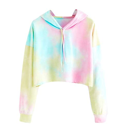 Iuhan Hoodies Tops Teen Tie Dye Hoodie Crop Top Cozy Long Sleeve Hooded Pullover Tops S Sky Blue