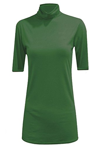 Janisramone Damen T-Shirt, Einfarbig * Einheitsgröße Flaschengrün