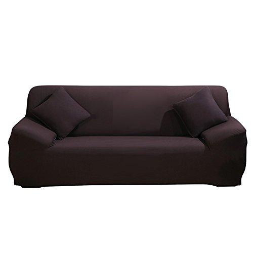 Sofa Überwürfe Sofabezug stretch elastische Sofahusse Sofa Abdeckung in verschiedene Größe und Farbe (3 Sitzer für Sofalänge 185-230cm, Dunkelbraun)