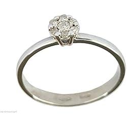 Anillo de mujer de Oro blanco 18kt (750 000/) rosetón 0,09CT H-VVS de diamantes