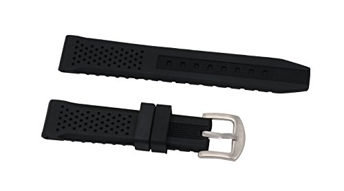 20 Fashionable mm black silicone rubber strap watch wristbands with stainless steel pin buckle straight end