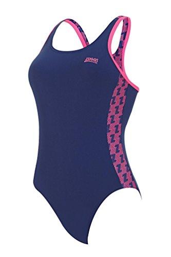 Zoggs Damen-Schwimmanzug, einteilig, chlorbeständig. Navy/Pink