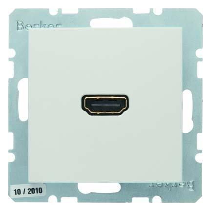 Hager-Steckdose High Definition S mit 90° Anschluss weiß Polar Matt Hdmi 1.3 V-kabel