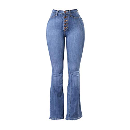 Chettova Damenmode Slim-Fit High-Rise Denim Ausgestellte Hosen Solid Color Pocket