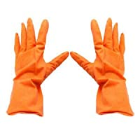 Branded SLB Works New Orange Rubber Dish Clothes Washing Cleaning Gloves Pair CT S7U1 T5G1