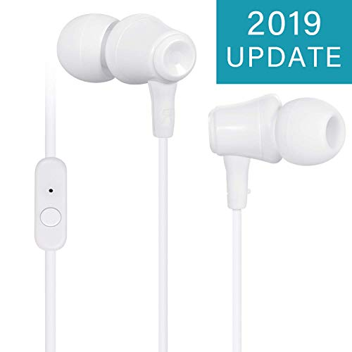 TOPLUS In Ear Kopfhörer, Stereo Ohrhörer mit Mikrofon & Fernsteuerung Kopfhörer Noise Cancelling Bass-Sound für Phone, Pad, Samsung, Galaxy, Huawei, Android, Smartphones, MP3 Players usw.(Weiß)