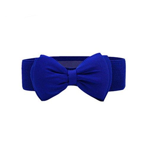 Arichtop Frauen-Sommer-PU-Leder-reizend großes Bowtie Bund Mädchen elastisches Kleid Stretch-Taillen-Gurt-Dame Cinch Gürtel Cummerbund (Elastischen Cinch-gürtel Leder)