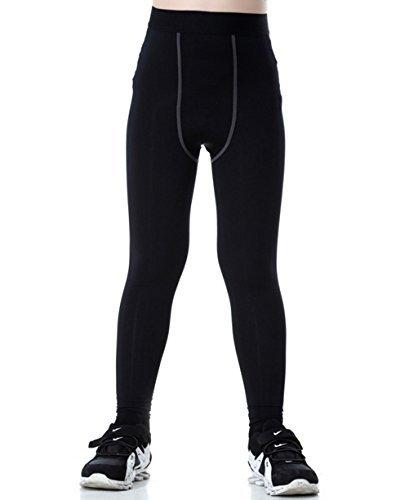 LANBAOSI sous-Vêtements Thermique (Long Caleçon) pour Garçon et File Collant de Compression Base Jogging Running Leggings