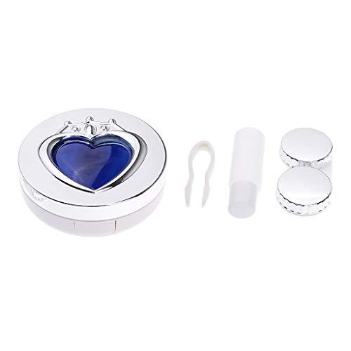 Sharplace Mini boîte de conteneur lentilles de Contact Etui - Bleu argenté