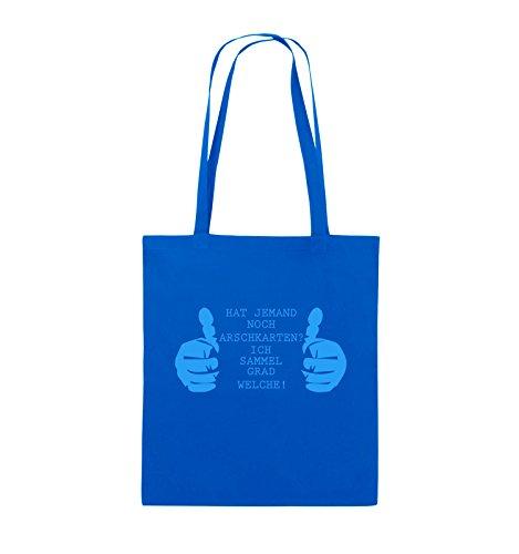 Comedy Bags - HAT JEMAND NOCH ARSCHKARTEN - Jutebeutel - lange Henkel - 38x42cm - Farbe: Schwarz / Silber Royalblau / Blau