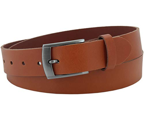 Vascavi Leather leather belt, 3,5 cm wide and approx. 0,3 cm thick, genuine leather, Made in Germany, for men and women # 3,5-0011 (85 cm Total length 100 cm, Cognac)