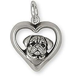 Colgante de plata de ley hecho a mano imagen de pug en corazon