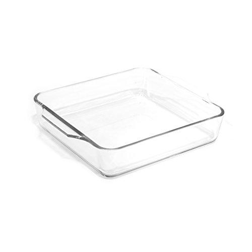 Cuisy KC2181- Recipiente Cuadrado para Horno, Vidrio Transparente, 20x 24x 5cm